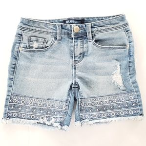 Blue Spice stretch embellished jean shorts